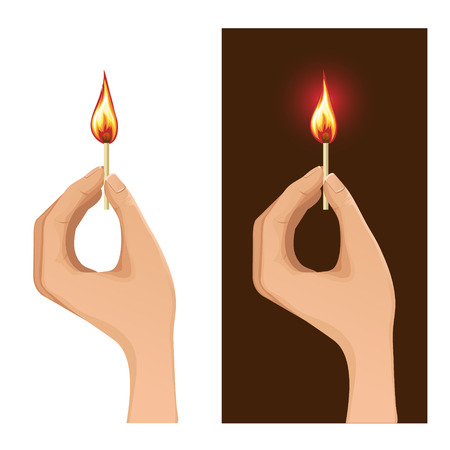 matchstick: Set of two images with hand holding burning match on white and dark backgrounds Illustration