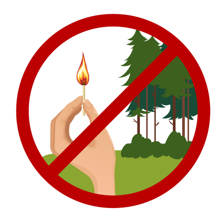 Stop symbol with hand holding burning match on the background with trees