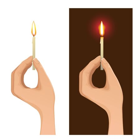 prayer candles: Set of two images with hand holding lighted candle on white and dark backgrounds