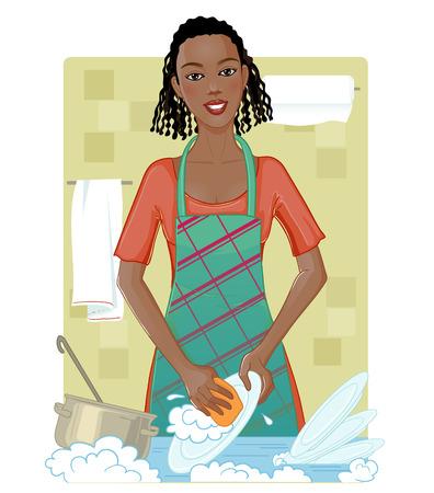 lavar trastes: lavar los platos mujer joven afroamericano Vectores