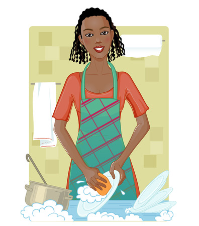 african americans: Young African American woman washing dishes