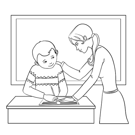 resolving: Teacher helps a boy in classroom to resolve tasks during lesson, vector image, outline