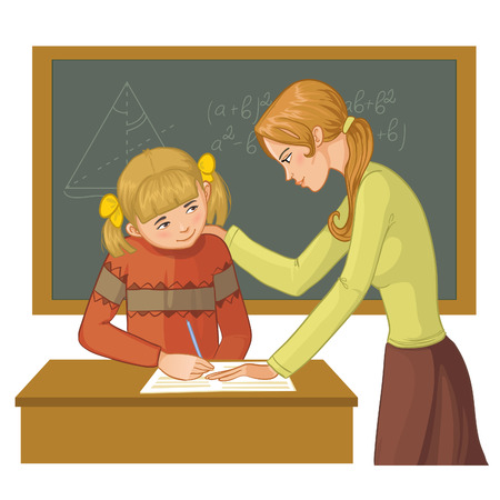 helps: Teacher helps a girl in classroom to resolve tasks during lesson, vector image