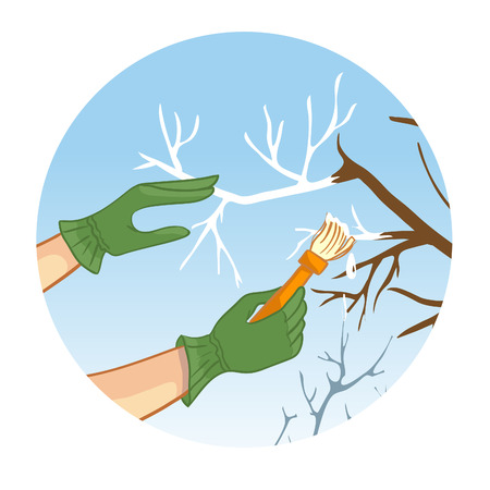 wood working: Hands whitewashing a tree, vector image