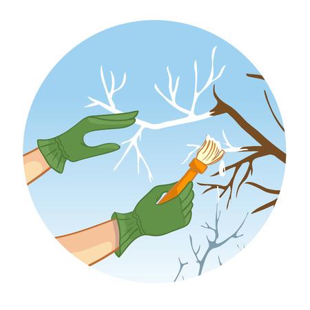 backyard work: Hands whitewashing a tree, vector image