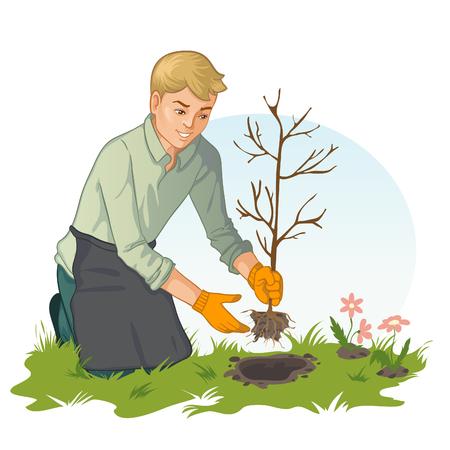 Hands planting sapling in garden, vector image