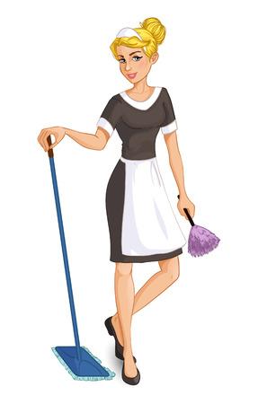 Cartoon cameriera bionda con scopa e strofinaccio