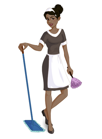 Cartoon African American chambermaid with mop and duster