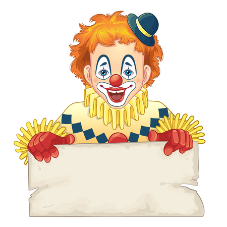 red hair: Cartoon funny clown with blank board