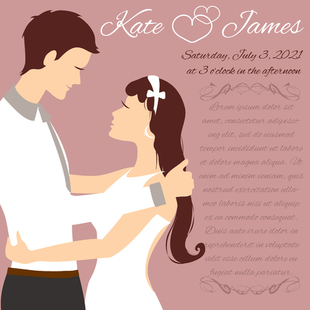 wedding couple: Invitation card with wedding couple, vector image
