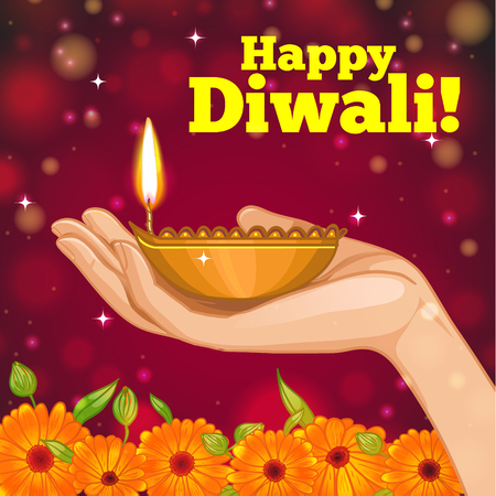 calendula flower: Greeting card for Diwali with diya decoration in hand, vector image, eps10 Illustration