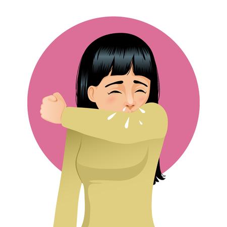 Girl sneezing in elbow, vector image 일러스트