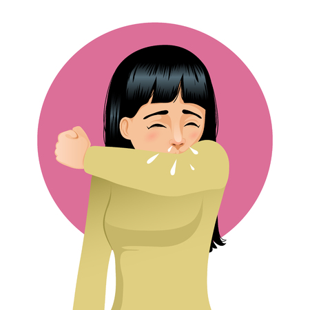 Girl sneezing in elbow, vector image Illustration