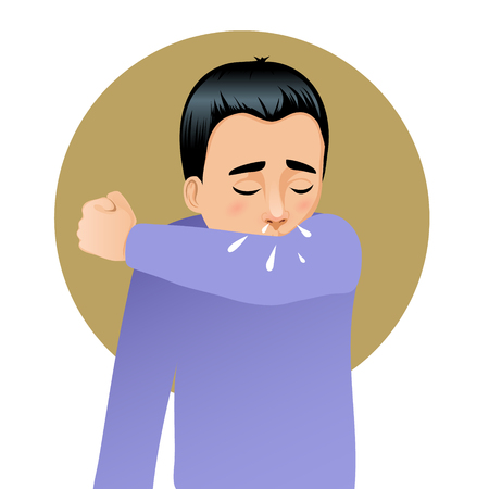snivel: Boy sneezing in elbow, vector image
