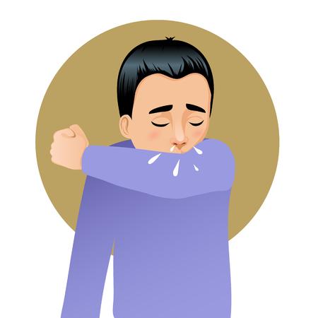 codo: Boy sneezing in elbow, vector image