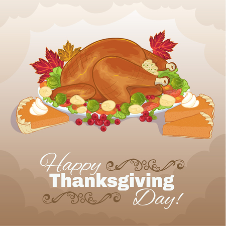 cake background: Background with stuffed turkey and pumpkin cake for Thanksgiving Day, vector image, eps10