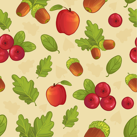 Seamless background with acorn, leaf, berry, apple vector image, eps10 Illustration