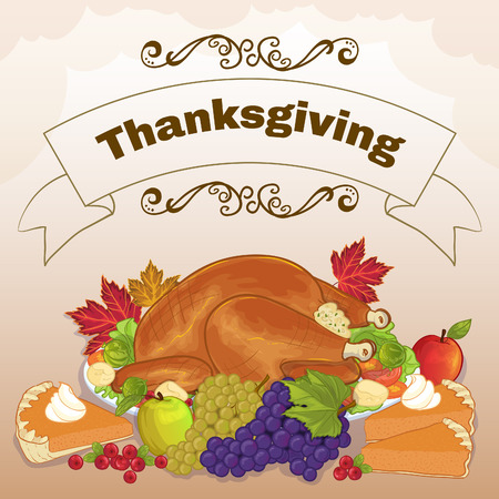 cake background: Background with stuffed turkey, pumpkin cake, grapes, apples and berries for Thanksgiving Day Illustration