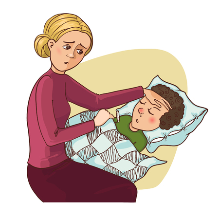 healthy kid: Mother worries about her ill son who stays in bed, vector image, eps10