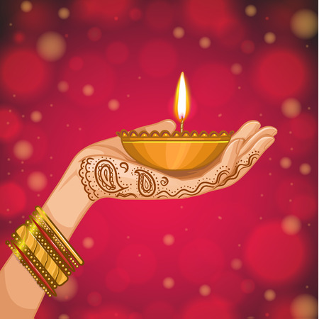 Card for henna night, kina gecesi. Hand with henna decoration with a candle, vector image, eps10 Illustration