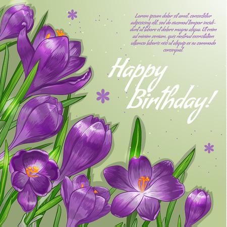 Carta decorativa floreale con fiori di croco lilla e posto per il vostro testo, immagine vettoriale,