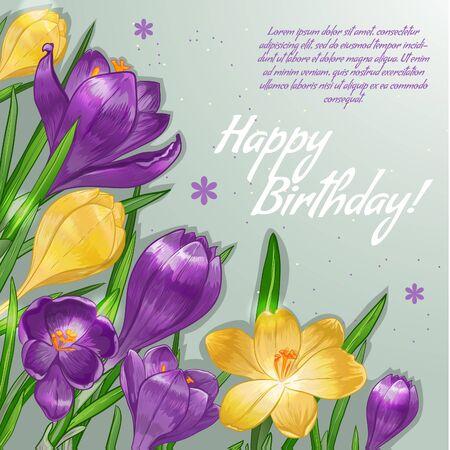 テキスト、ベクトル画像の薄紫色と黄色のクロッカスの花と花の装飾的なカード