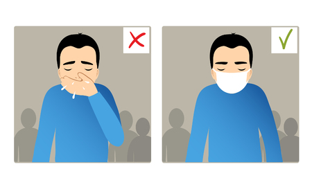 snivel: Set of two images with boy sneezing in hand and with mask on the face, what is right and wrong, vector image Illustration