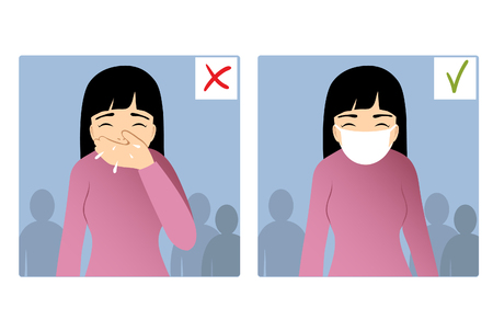 Set of two images with girl sneezing in hand and with mask on the face, what is right and wrong, vector image Illustration