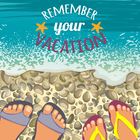 Summer background with sea, stones beach, pair of feet in sandals and place for text, vector image, eps10