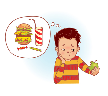 Cartoon man eats healthy green apple but think about unhealthy fast food, vector image
