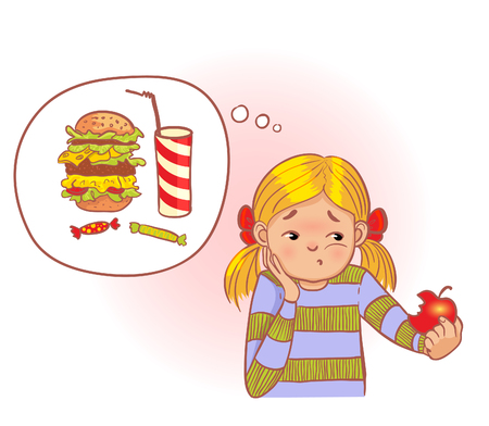 but think: Cartoon girl eats healthy apple but think about unhealthy fast food, vector image, eps10 Illustration