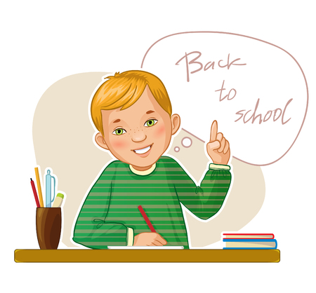 Happy small boy at the desk on the background with speech bubble, vector image, eps10