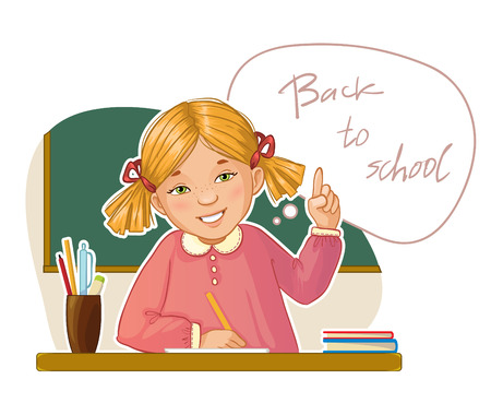 Happy small girl at the desk on the background with blackboard, vector image, eps10 Illustration