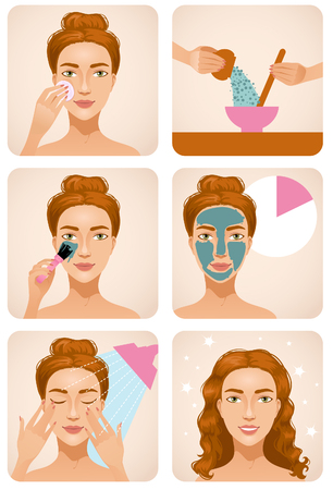 Young girl applying a mask on her face, steps of the procedure, vector image, eps10