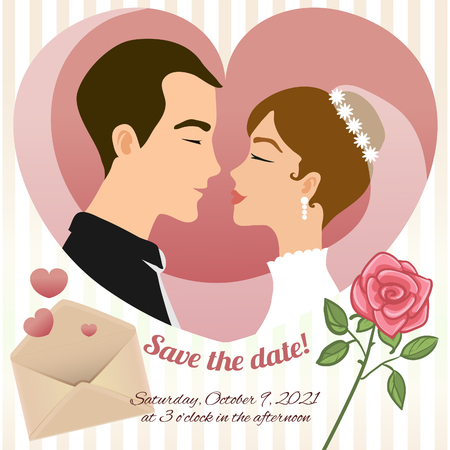 Invitation card for wedding with young couple, rose, envelope and text, vector image, eps10 Illustration