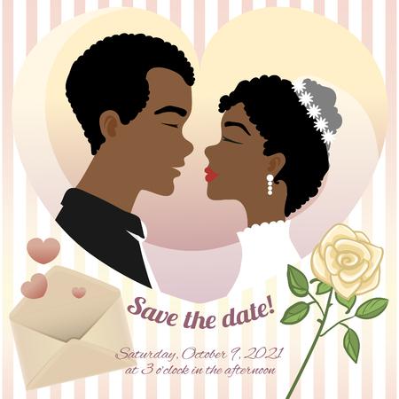 若いアフリカ系アメリカ人のカップル、バラ、封筒とテキスト、ベクトル画像との結婚式のための招待カード  イラスト・ベクター素材