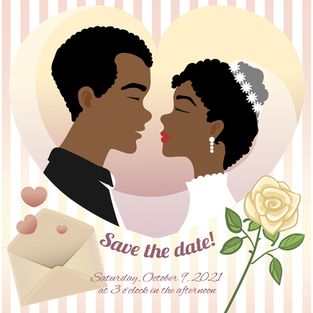 Invitation card for wedding with young African American couple, rose, envelope and text, vector image 일러스트