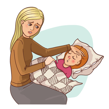 Mother worries about her ill daughter who stays in bed, vector image, eps10