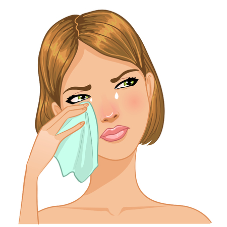 Young woman cries and wipes tears from her face, vector image, eps10 Illustration