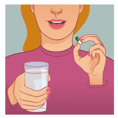 Mujer enferma toma medicina, en una mano ella tiene una píldora, en otro vaso con agua, imagen vectorial, eps10
