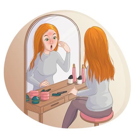 Jonge cartoon vrouw kijkt in de spiegel en ziet rode vlekken op haar huid. Vector afbeelding, eps10