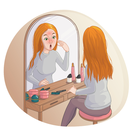 Young cartoon woman looks in mirror and sees red spots on her skin. Vector image, eps10