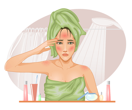 Girl with problematic skin in the bath, vector image
