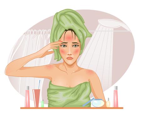 Ragazza con pelle problematica nel bagno, immagine vettoriale Vettoriali
