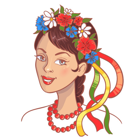 Girl in traditional Ukrainian clothes, eps10, vector image Illustration