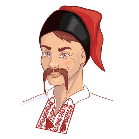 Man in traditional Ukrainian clothes, vector image Vectores