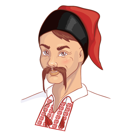 Man in traditional Ukrainian clothes, vector image Vettoriali