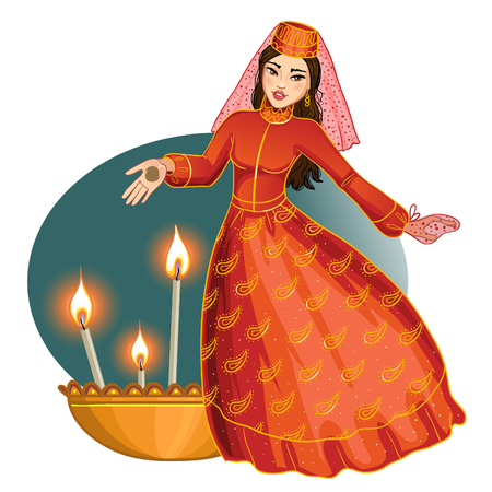 Ceremony at henna night, kina gecesi, a bride  with henna on her palms, vector image, eps10 Illustration