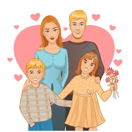 Mutter und Vater mit zwei Kindern, Junge und Mädchen auf dem Hintergrund mit Herzen