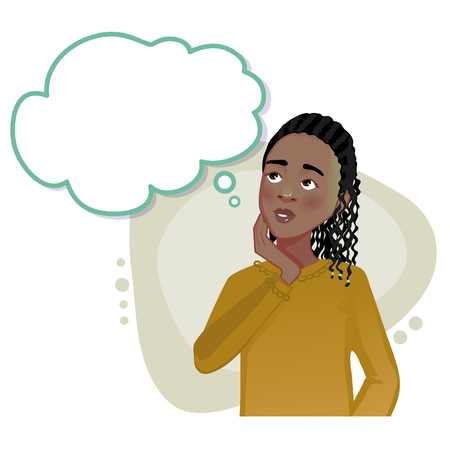 Thinking African American girl with speech bubble, vector image, eps10
